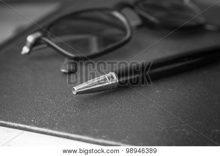 Pen With Black And White.