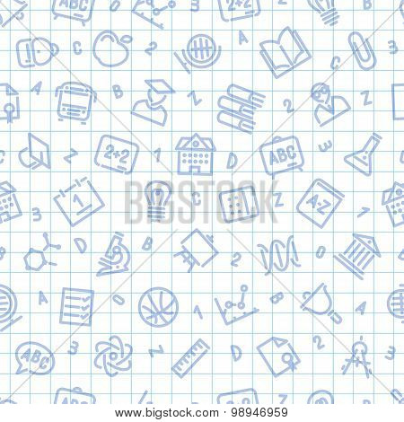 School Seamless Pattern on the Squared Sheet