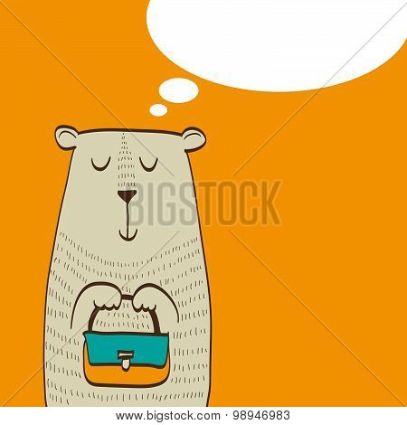 Cute bear with bag in his paws dreams of shopping