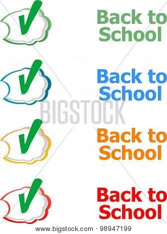 Back To School. Design Elements, Speech Bubble For The Text Isolated On White, Education Concept