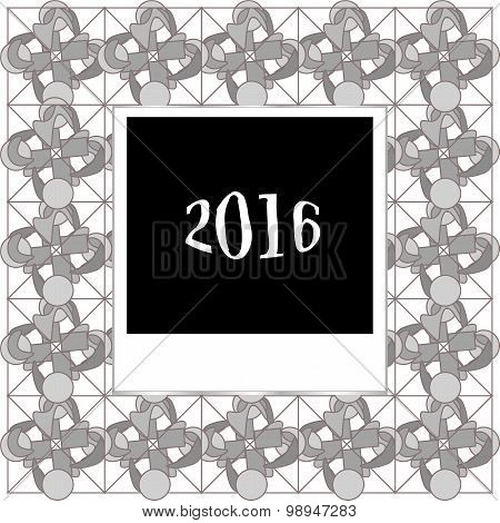 Merry Christmas Card Template With Photo Frame On Abstract Background, 2016 New Year Card