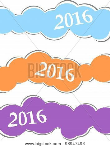 2016 Happy New Year Greeting Card Or Background, Christmas Stickers Set Isolated On White Background
