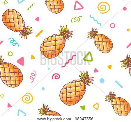 Vector Illustration Of Colorful Pattern With Pineapples On White Background.