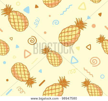 Vector Illustration Of Pastel Color Pattern With Pineapples On Yellow Background.
