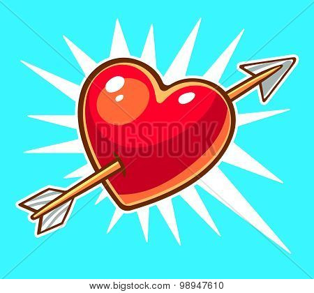 Vector Illustration Of Bright Red Heart Pierced By An Arrow On Blue Background.