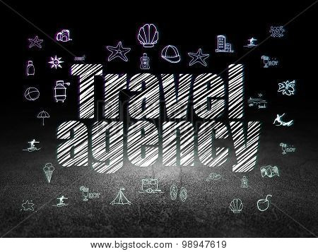 Vacation concept: Travel Agency in grunge dark room