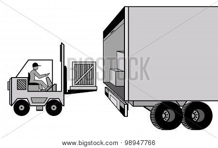 Delivery and loading of cargo by car and loader at the storage warehouse