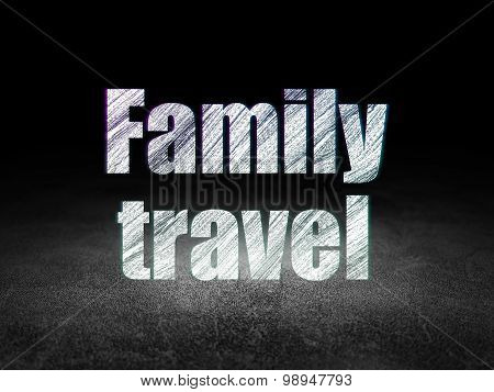 Tourism concept: Family Travel in grunge dark room