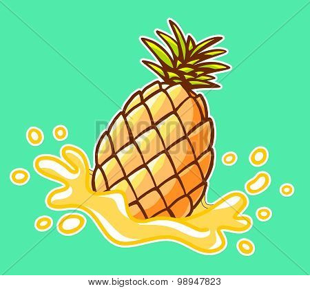 Vector Illustration Of Colorful Yellow Pineapple With Splash On Green Background.