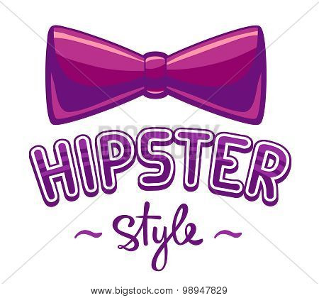 Vector Illustration Of Purple Bow Tie And Lettering Hipster Style On White Background.