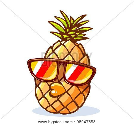 Vector Illustration Of Colorful Yellow Hipster Pineapple With Sunglasses On White Background.