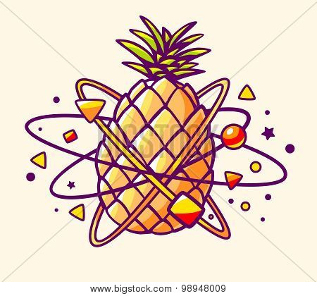 Vector Illustration Of Colorful Yellow Pineapple With Elements And Particles On Light Background.