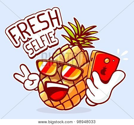 Vector Illustration Of Colorful Hipster Pineapple With Sunglasses Taking Selfie On Blue Background.