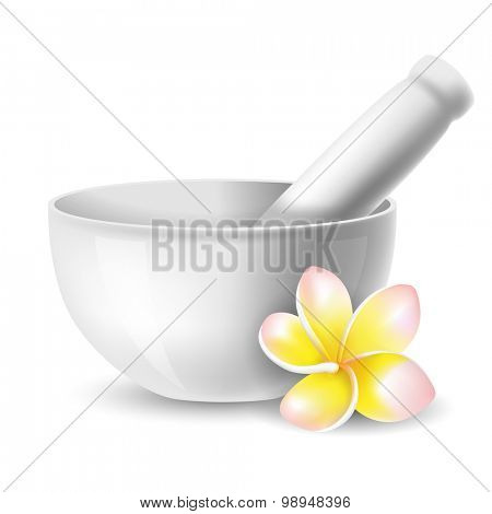 White ceramic mortar and pestle with flowers plumeria. Vector illustration. Isolated on white background.