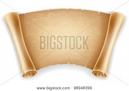 Horizontal old scroll paper with space for your text. Retro styled. Isolated on white background.
