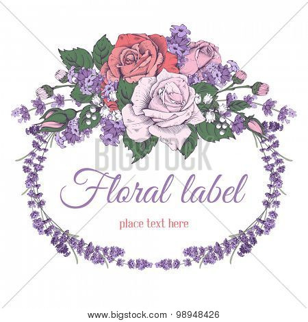 Vintage luxury greeting card with detailed hand drawn flowers - blooming rose and lavender. Isolated on white background. Space for your text. Vector. Easy to edit.
