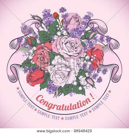 Vintage luxury greeting card with detailed hand drawn flowers - blooming rose and lavender. Retro styled ribbon with space for your text. Engraving style. Vector. Easy to edit.