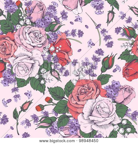 Vintage luxury seamless pattern with detailed hand drawn flowers - blooming rose and lavender. Engraving style. Vector. Easy to edit.