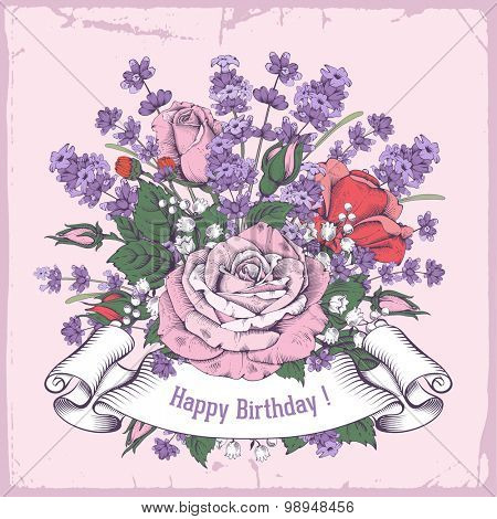 Vintage luxury greeting card with detailed hand drawn flowers - blooming rose and lavender. Retro styled ribbon with space for your text. Vector. Easy to edit.