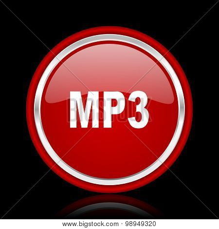 mp3 red glossy web icon chrome design on black background with reflection