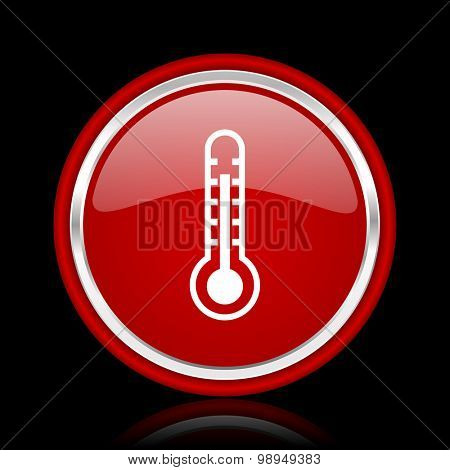 thermometer red glossy web icon chrome design on black background with reflection