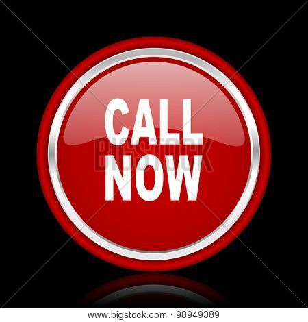 call now red glossy web icon chrome design on black background with reflection
