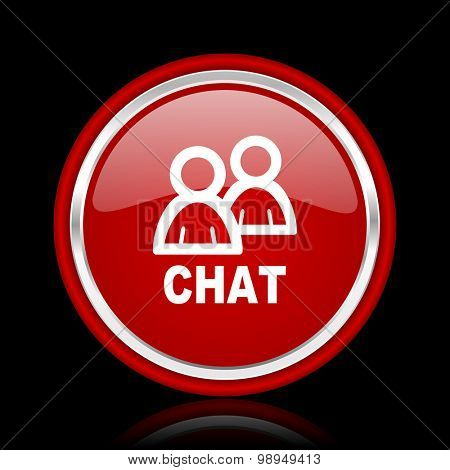 chat red glossy web icon chrome design on black background with reflection