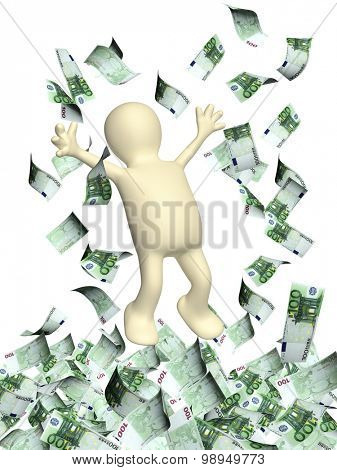 Happy 3d man leaping and a money rain with euro banknotes. Isolated on white backgorund