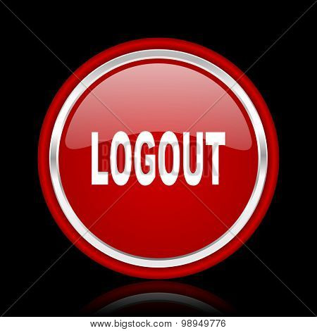 logout red glossy web icon chrome design on black background with reflection