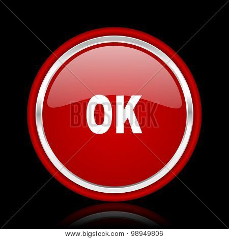 ok red glossy web icon chrome design on black background with reflection
