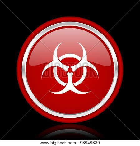 biohazard red glossy web icon chrome design on black background with reflection