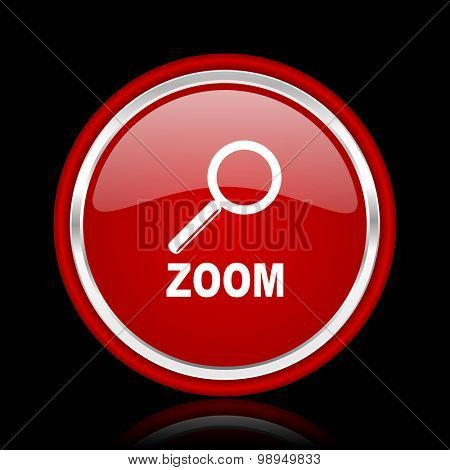 zoom red glossy web icon chrome design on black background with reflection