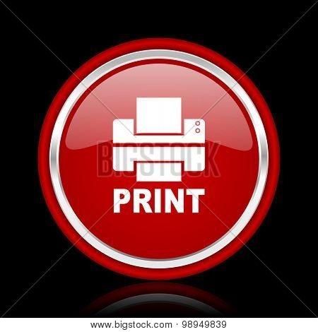 printer red glossy web icon chrome design on black background with reflection