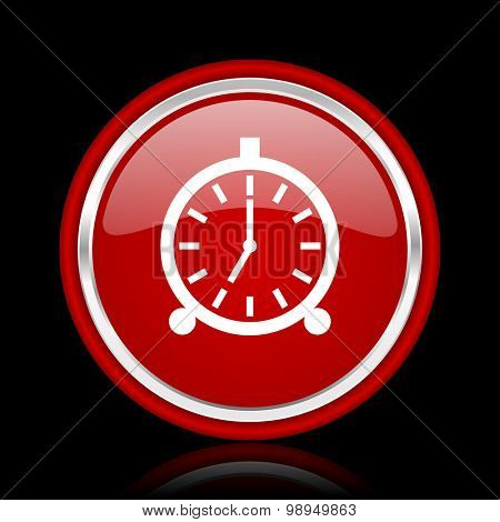 alarm red glossy web icon chrome design on black background with reflection