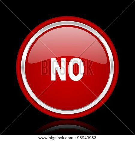 no red glossy web icon chrome design on black background with reflection