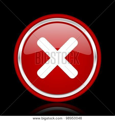 cancel red glossy web icon chrome design on black background with reflection