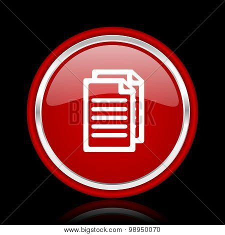 document red glossy web icon chrome design on black background with reflection