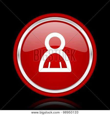 person red glossy web icon chrome design on black background with reflection