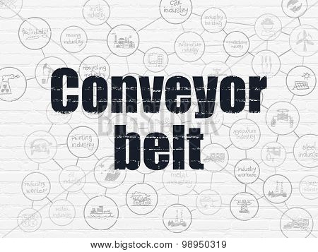 Industry concept: Conveyor Belt on wall background