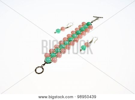 Handmade Bracelet And Two Earriings On Isolated White