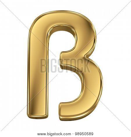 Golden shining metallic 3D symbol letter eszett - isolated on white