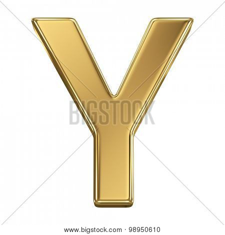 Golden shining metallic 3D symbol letter Y - isolated on white