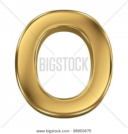Golden shining metallic 3D symbol letter O - isolated on white