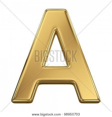 Golden shining metallic 3D symbol letter A - isolated on white