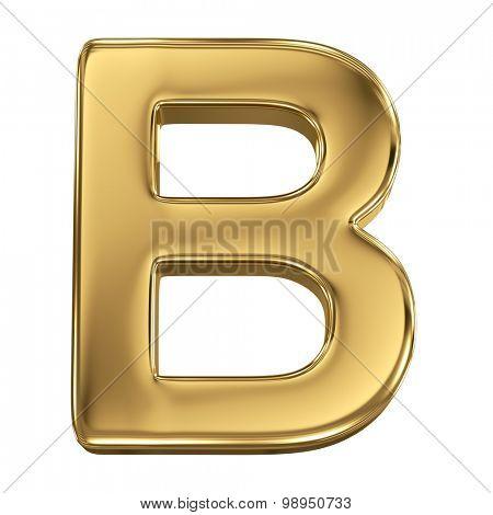Golden shining metallic 3D symbol letter B - isolated on white
