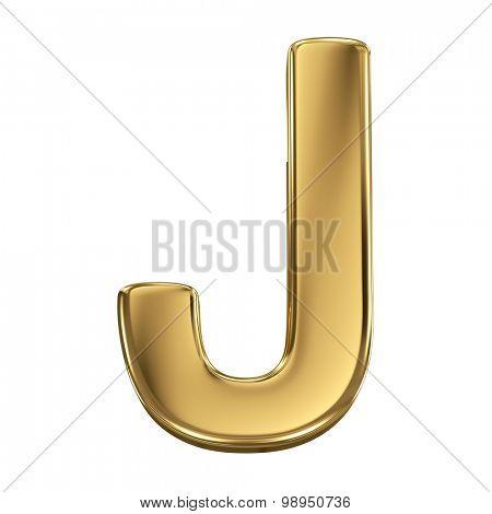 Golden shining metallic 3D symbol letter J - isolated on white