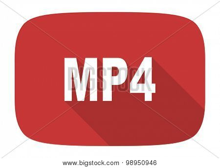 mp4 flat design modern icon with long shadow for web and mobile app