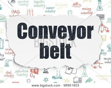 Manufacuring concept: Conveyor Belt on Torn Paper background