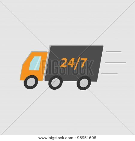 Free Delivery Car Service. Truck With Speed Line. Fast Shop Shipping Concept. 24 7 Isolated. Flat De