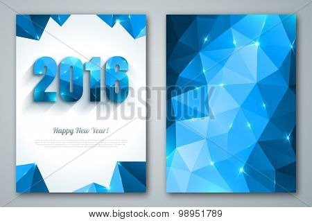 Happy New Year 2016 greeting cards in polygonal style.
